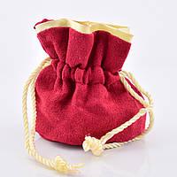 Велюровый мешочек 55134, красный с золотым, размер 8*8 см