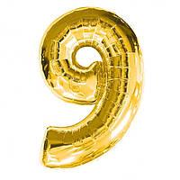 "Шар цифра ""9"" золото (1 метр) флекс металл Фольга"