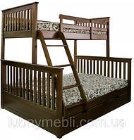 """""""Олигарх"""" Трехместная двухъярусная деревянная кровать"""