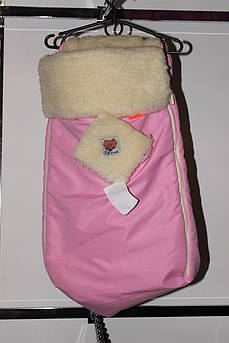 Конверт для младенца на овчине Розовый