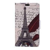 Чехол книжка TPU Wallet Printing для Motorola Moto E4 XT1762 Eiffel Tower Quillpen
