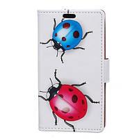 Чехол книжка TPU Wallet Printing для Motorola Moto E4 XT1762 Two Ladybirds