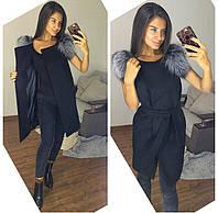 СТильная жилетка с красивым мехом финской чернобурки, цвет черный
