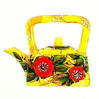 Чайник заварочный керамический авторский дизайн ручная роспись Мак желтый 700мл 9636, фото 1