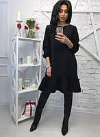 Коктельйное черное платье А-силуэта с пышным рукавом