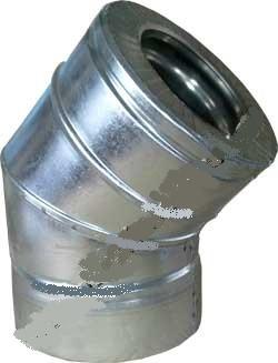 Колено  для дымохода  нерж/оц угол 45 гр.