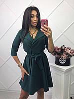 Классное зеленое платье с красивым бантом на талии