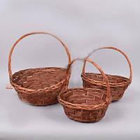 Корзины  плетенная декоративные из лозы набор 3 штуки