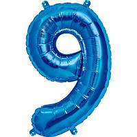 "Шар цифра ""9"" синий (1 метр) флекс металл Фольга"