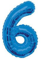 "Шар цифра ""6"" синий (1 метр) флекс металл Фольга"