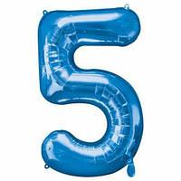 "Шар цифра ""5"" синий (1 метр) флекс металл Фольга"