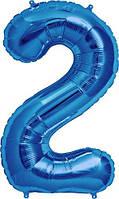 "Шар цифра ""2"" синий (1 метр) флекс металл Фольга"