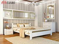 Кровать Афина тм Эстелла 180х190/200, №107 Белый акрил, Массив бука