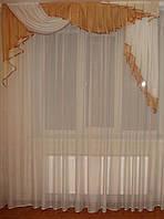 Ламбрекен прибой коричневый с бежем 2м
