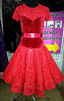 """Платье танцевальное (бейсик) """"Ника-элит""""р.128-134(34)(красный), фото 1"""