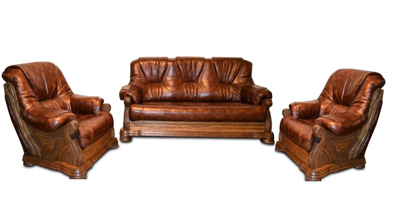 Кожаный комплект мебели с двумя креслами Барон (3р + 1 + 1), мягкая мебель, мебель в коже, кожаная мебель
