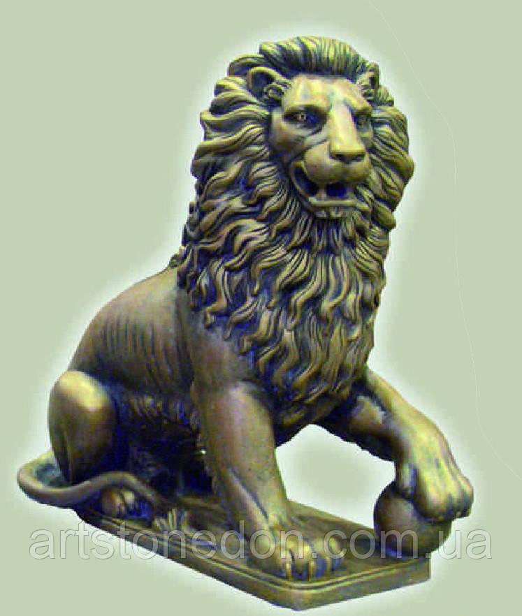 Статуя Льва с шаром 85 см бетон