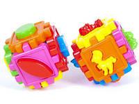 Логический куб-сортер, с геометрич. фигурами,10*10*10см в пакете /20/