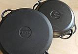 Сковорода чугунная (жаровня), d=340мм, h=70мм с чугунной крышкой-сковородой, фото 3