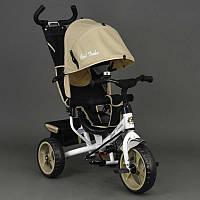 Велосипед 6570 3-х колёсный Best Trike (1) БЕЖЕВЫЙ, переднее колесо 12 дюймов d=28см, заднее 10 дюймов d=24см,