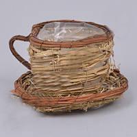 Кашпо Чашка с блюдцем из лозы для флористических композиций