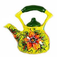 Чайник заварочный керамический авторский дизайн ручная роспись Астра желтый 700мл 9668, фото 1