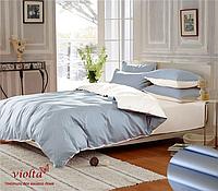 Комплект постельного белья, двуспальный, сатин люкс, голубой/белый, однотонный
