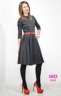 Женское платье, солнце-клёш, стильное платье принт гусиная лапка