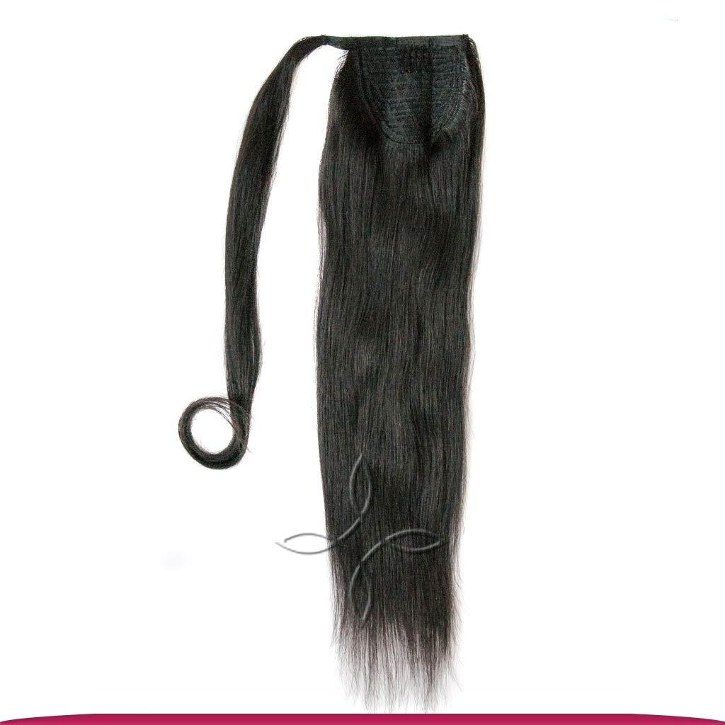 Шиньон-Хвост на Ленте 50 см 100 грамм, Черный №01