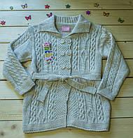 Теплая  вязаная кофта для девочки на 6-10 лет