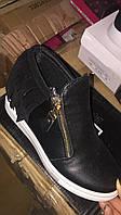Чёрные женские ботинки сникерсы с бахромой Размеры 36-41