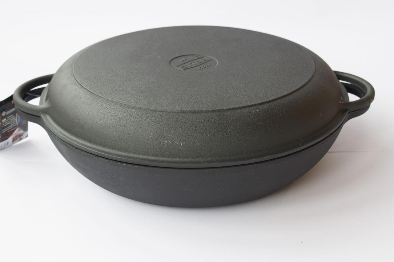 Сковорода чугунная (порционная), d=200мм, h=35мм с чугунной крышкой-сковородой, фото 1