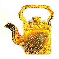 Чайник заварочный керамический авторский дизайн ручная роспись Узор желтый 500мл 9689