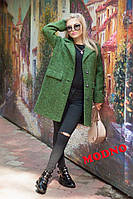 Стильное пальто oversize из буклированного меланжированного кашемира, цвет хаки