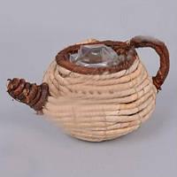 Кашпо Чайник плетеный для декора и флористических композиций