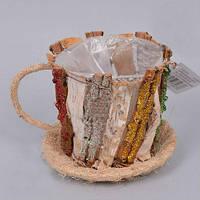 Кашпо Чашка из коры для декора и флористических композиций