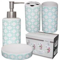 """Керамический набор для ванной комнаты """"Голубая геометрия"""""""