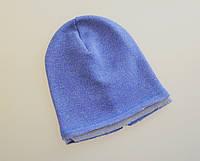 Однослойные теплые шапочки бини с начесом. Синий электрик. 52-54, 56-58 см