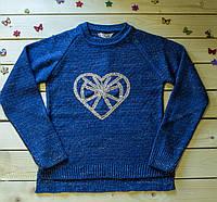 Красивый  вязаный свитерок для девочки на 6-10 лет