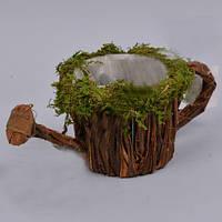 Кашпо Лейка из коры с мхом для флористических композиций
