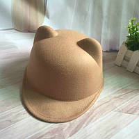 Шляпа женская фетровая жокейка Кошечка с ушками бежевая, фото 1