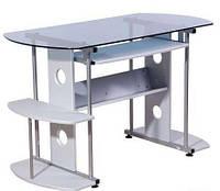 Стол компьютерный GF-101 Синее стекло/Серый МДФ/Серая база 1200*600*750 AMF