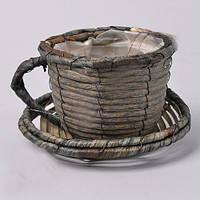 Кашпо Чашка плетенная  для декора и флористических композиций