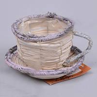 Кашпо Чашка плетенная светлая  для декора и флористических композиций