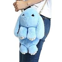 Меховая сумка-рюкзак в виде зайчика голубая