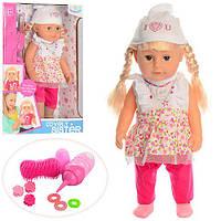 Лялька WZJ015-1 пляшечка, щітка, резиночка, заколочки, п'є-плаче, муз., бат. (таб.), кор., 41-33-20