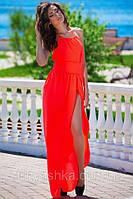Яркое коралловое платье в пол с голой спиной Фантазия, фото 1