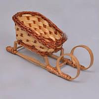 Кашпо Сани плетенные   для декора и флористических композиций