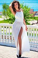 Платье в пол с голой спиной Фантазия молоко, фото 1