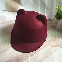 Шляпа женская фетровая жокейка Кошечка с ушками марсала (бордовая) , фото 1